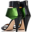 Metallic Finish Leather Sandals Green image