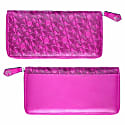Luxury English Leather Ladies 12 Card Zip Around Purse & Wallet In Fuchsia Pink image