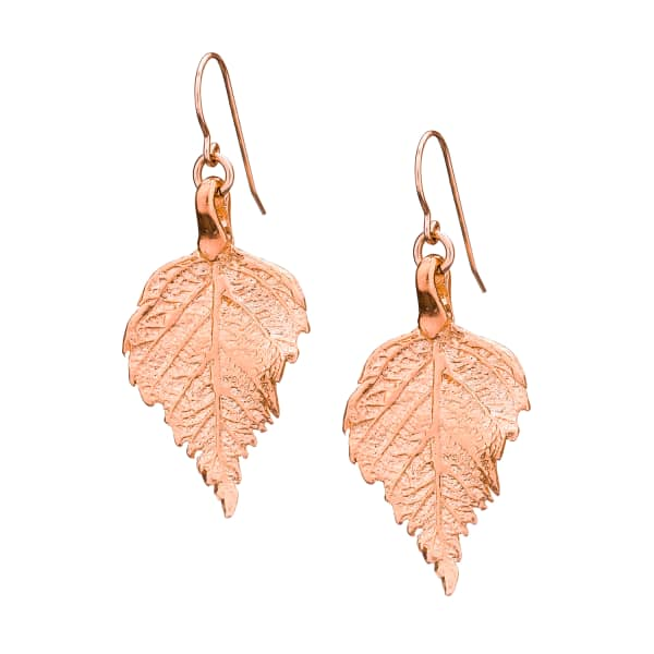 CHUPI Tiny Raspberry Leaf Earrings Rose Gold