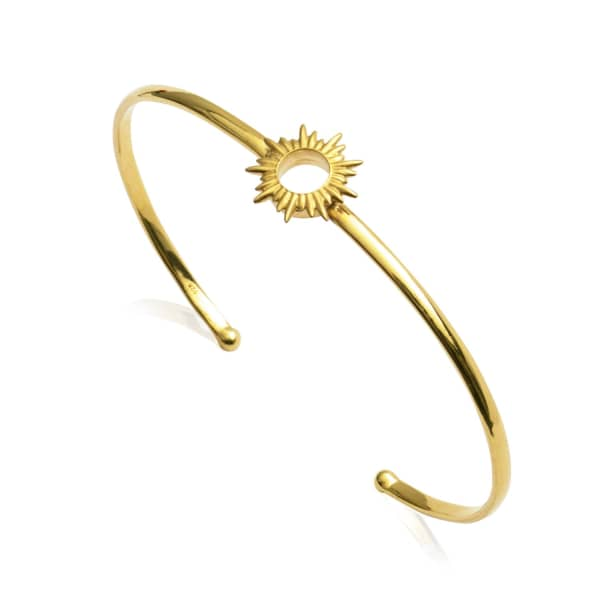 Sunrays Bangle In Gold from Wolf & Badger