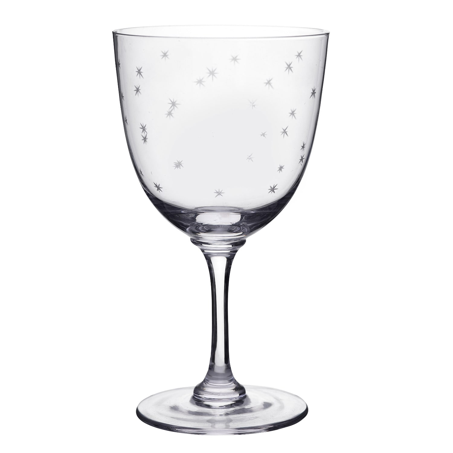 The Vintage List - Six Hand-Engraved Crystal Wine Glasses with Stars Design