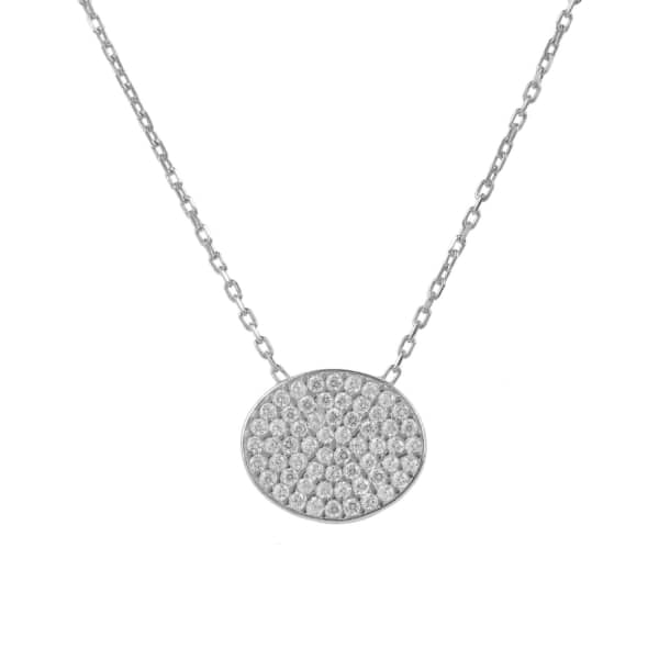 Latelita London Necklace Long Oval Disc Silver