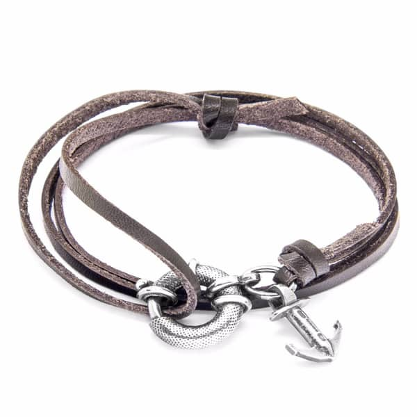 Anchor & Crew Dark Brown Clyde Silver and Leather Bracelet
