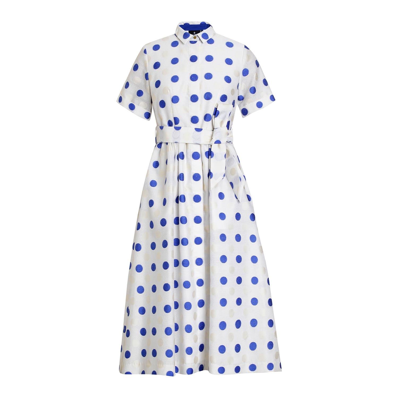 Polka Jacquard Shirt Dress Blue