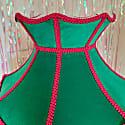 Green Velvet Crown With Pink Braid & Pink & Green Fringe image