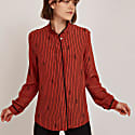 Eternity Knot Silk Blouse In Brown Pinstripe image