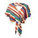 Paty Stripes Print Open Back Tie Hem Top image