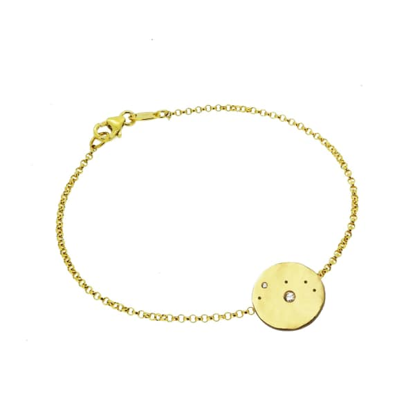 YVONNE HENDERSON JEWELLERY Aries Constellation Bracelet with White Sapphires Gold