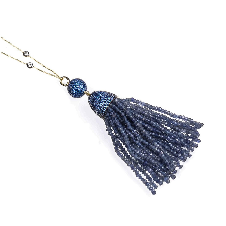 Latelita London Tassel Ball Necklace Iolite (Blue) pKrTF