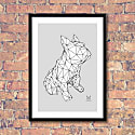 French Bulldog Geometric Print - Frank White On A Grey Background image