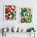 Antique Reptiles & Amphibians - Cream Fine Art Print A5 image