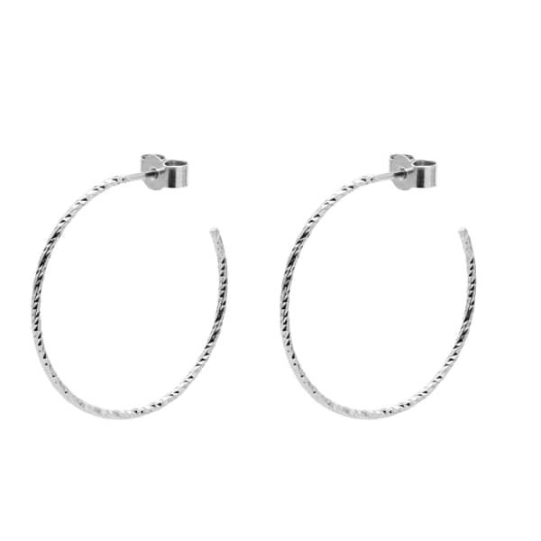 MYIA BONNER Silver Large Diamond Hoop Earrings