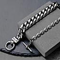 Atticus Skull Bar Chain Bracelet In Gunmetal image