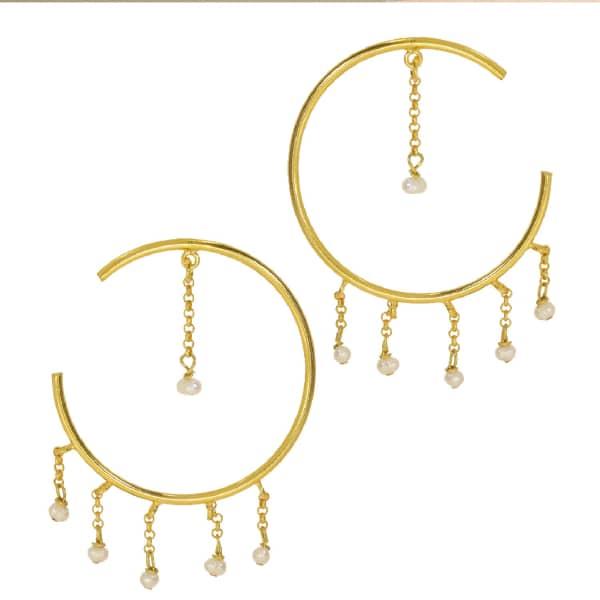 OTTOMAN HANDS Wonderland Pearl Statement Front Hoop Earrings