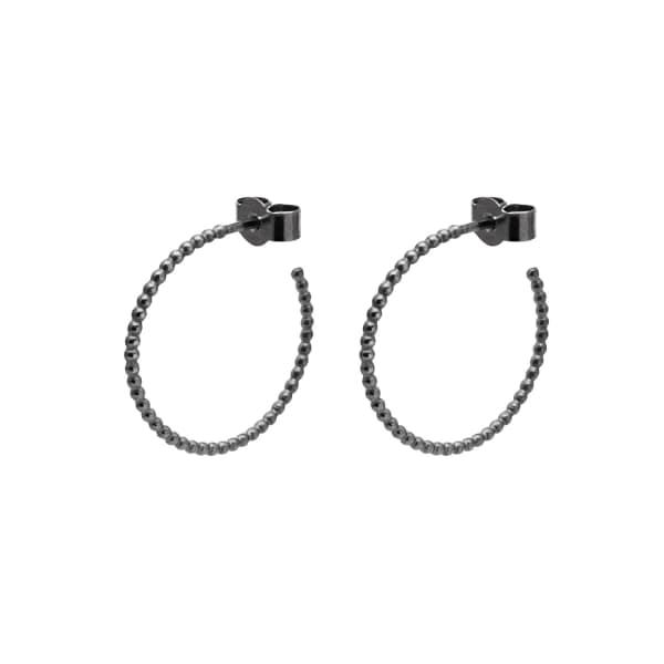 MYIA BONNER Black Medium Ball Hoop Earrings