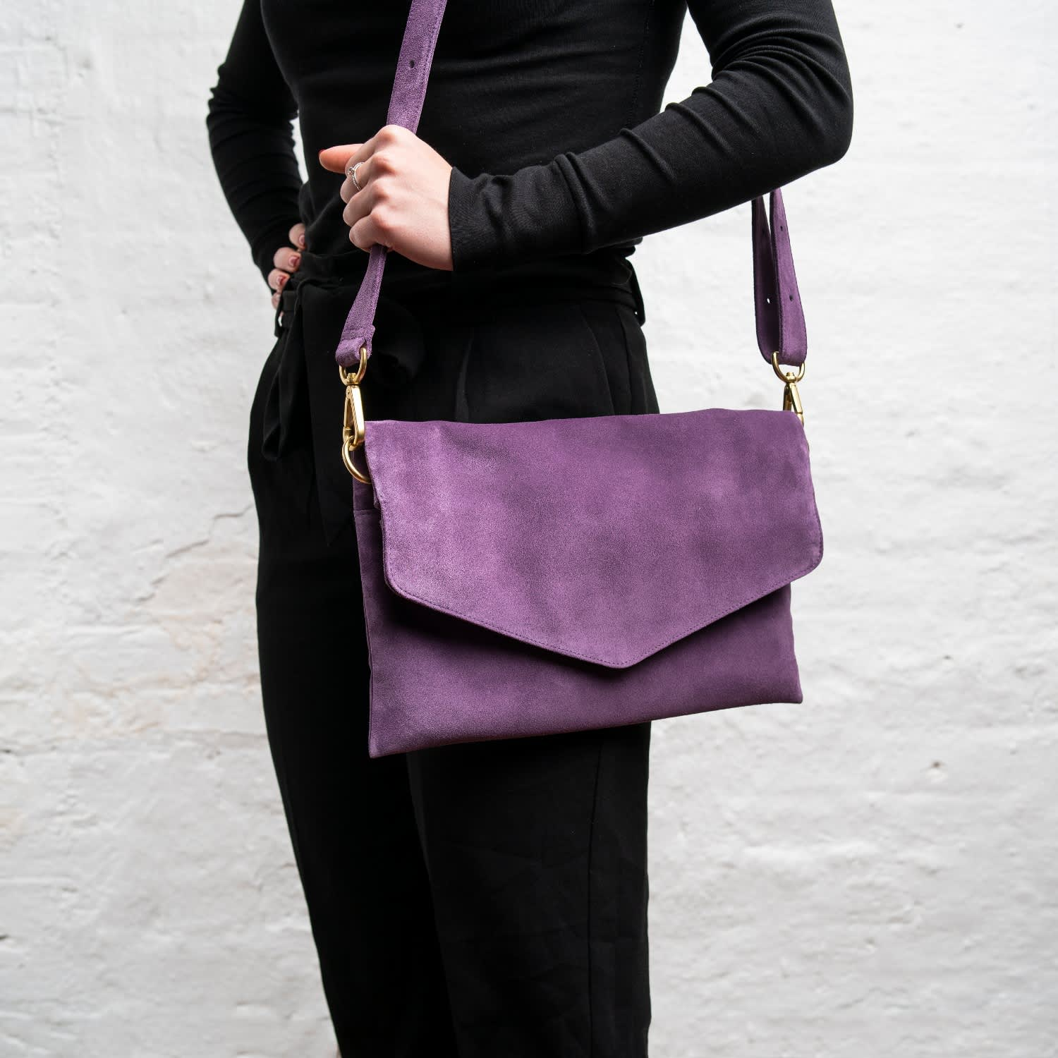 b467a1c8b36 Explorer Crossbody Clutch In Purple Suede | Holly & Tanager | Wolf ...
