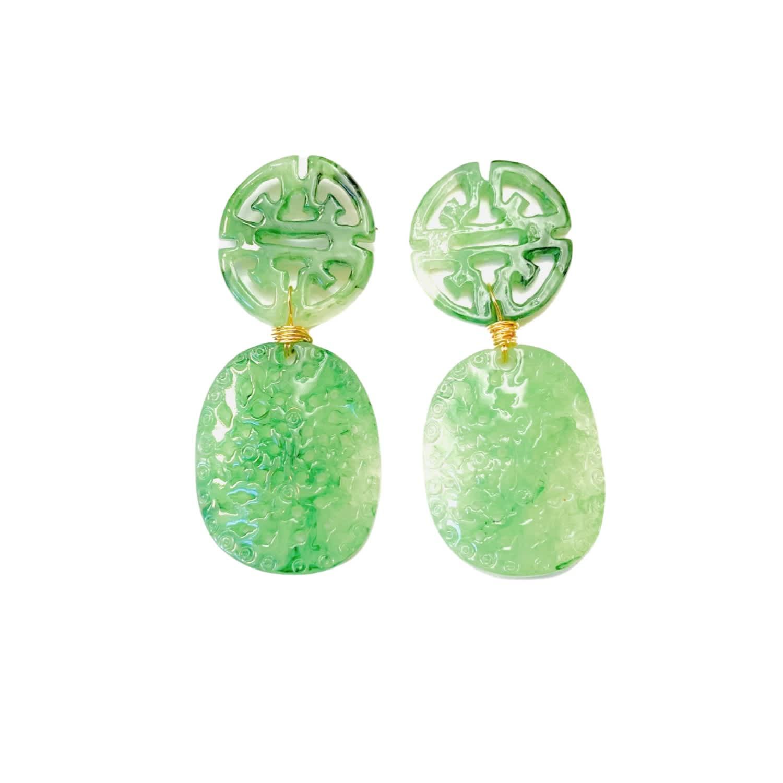 Vanity Pink Mountain Jade Drop Pierced Earrings