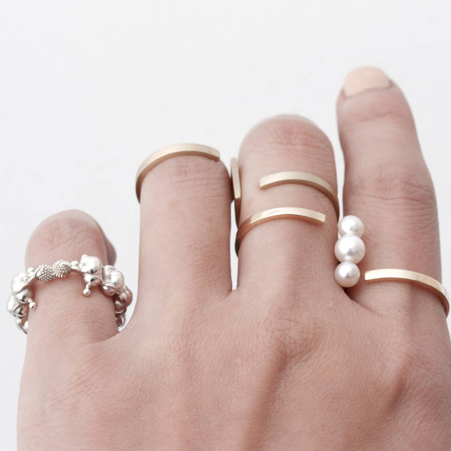 Drawing A Circle Pearl Double Ring Solid Gold | HSU | Wolf & Badger