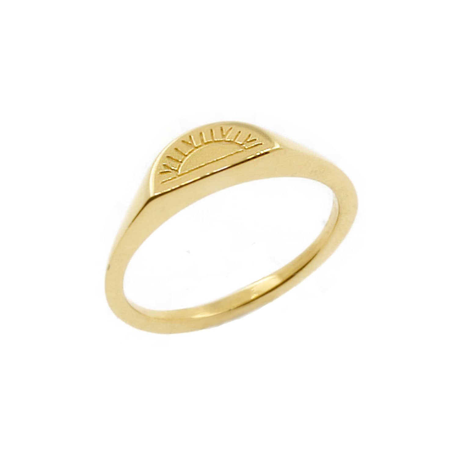 Solid Gold Sun Signet Ring by No 13
