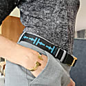 Recycled Web Nylon & Black Leather Women's Belt- Uniko Gold image