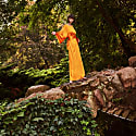 Chrysanthemum Orange Kimono Silk Satin Dress With Unique V-Back image