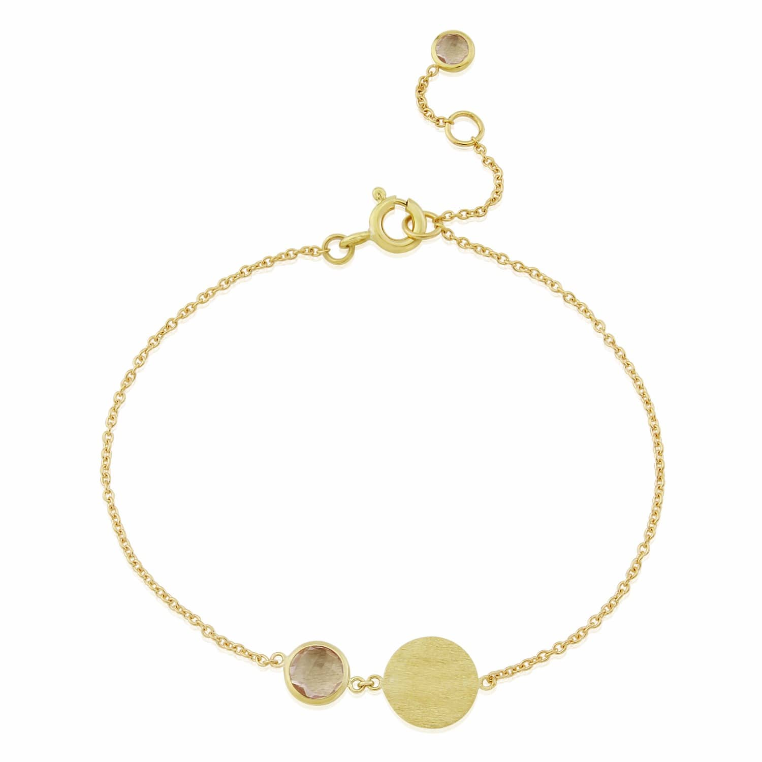 07a029eaaac72 Bali 9ct Gold October Birthstone Bracelet Rose Quartz by Auree Jewellery