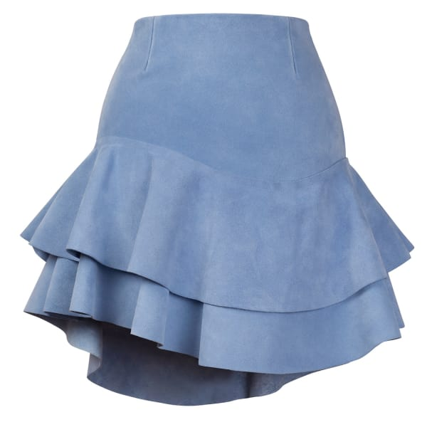SIOBHAN MOLLOY Lashes Baby Blue Calf Suede Skirt