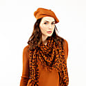 Fallon Brown Pom-Pom Knitted Silk Cashmere Beret image
