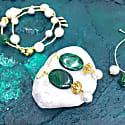 Oval Malachite & Freshwater Pearl Hook Earrings image