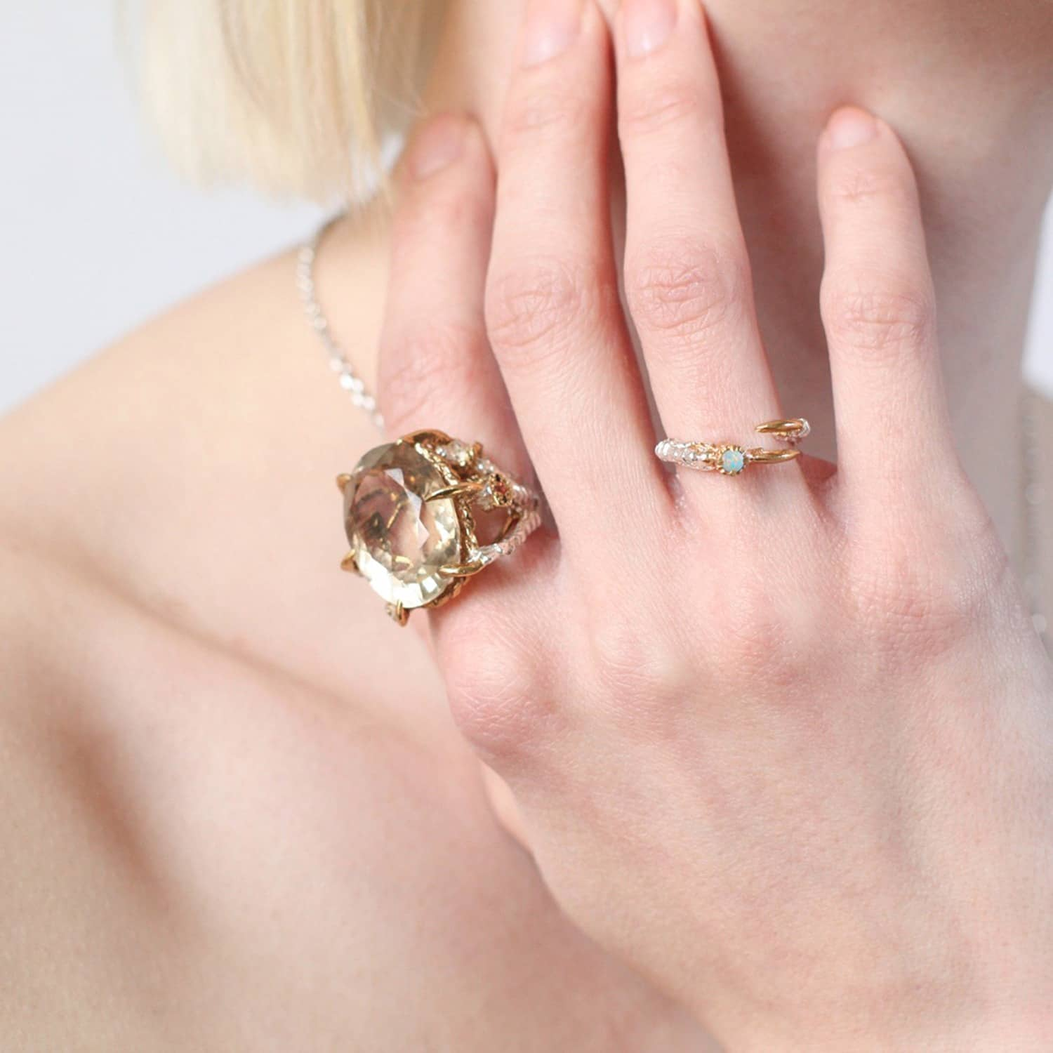 Single Claw with an Opal Mini Ring | Tessa Metcalfe | Wolf & Badger