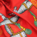 Kalighat Horse Silk Scarf Red and Yellow image