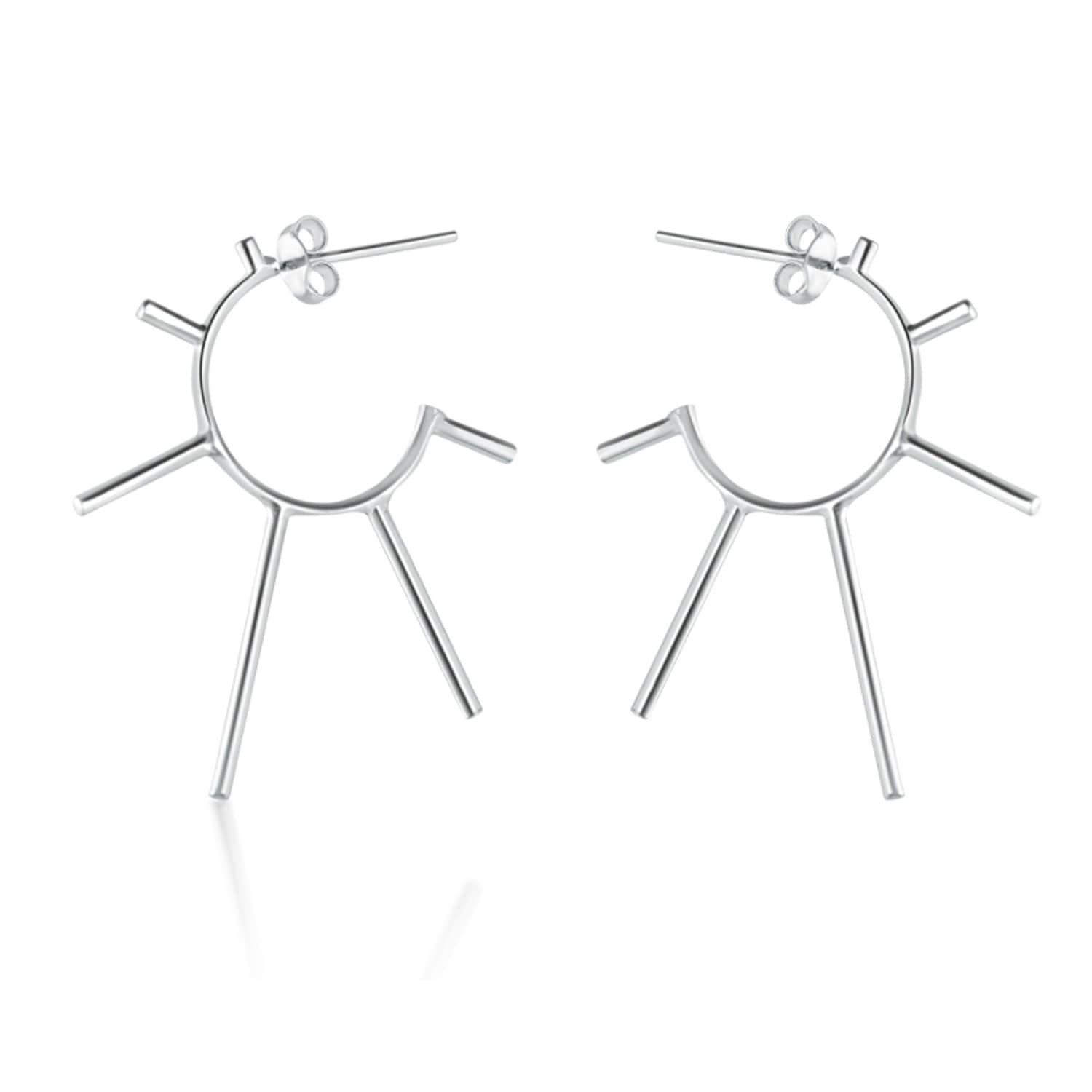 1348b4338 Silver Light Punk Sunshine Hoop Earrings | Marcia Vidal | Wolf & Badger