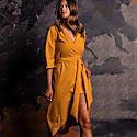 Rita Wrap Dress In Ochre image