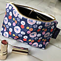 Midnight Poppy Cotton Cosmetic Bag - Blue image
