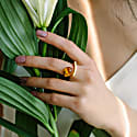 Modernism Art Nouveau Gold Plated Ring Made of Silver with Cognac Amber image