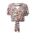 Paty Small Houses Print Open Back Tie Hem Top image