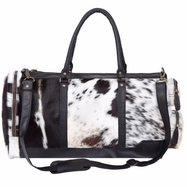 MAHI LEATHER Leather Columbus Duffle Weekend / Overnight Bag - Animal Print Pony Hair