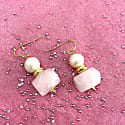 Round Freshwater Pearl With Faceted Rose Quartz Drop Earrings image