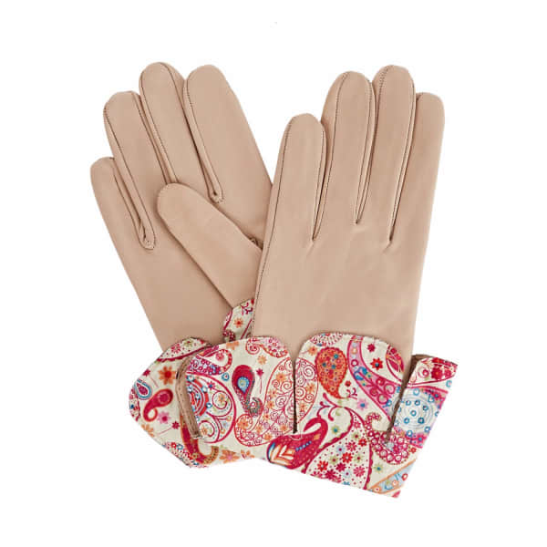Palesa Beige Leather Gloves With Md Liberty Tana Lawn