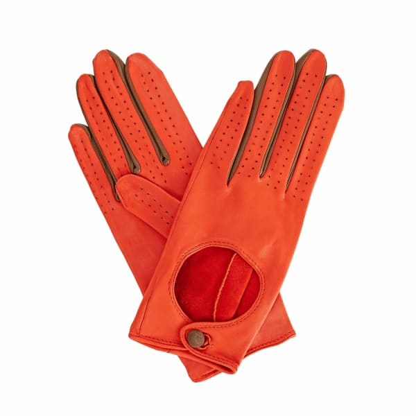 GIZELLE RENEE Bega Orange Leather Driving Gloves With Coffee Cashmere