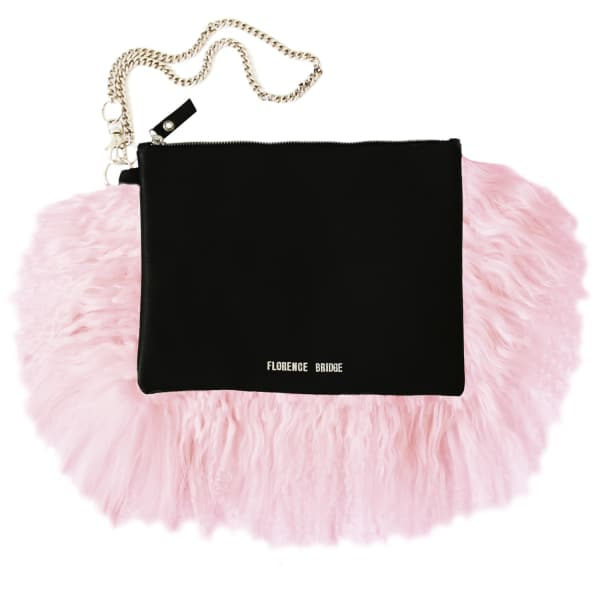 FLORENCE BRIDGE Fluffy Bianca Clutch Bag Pink in Purple