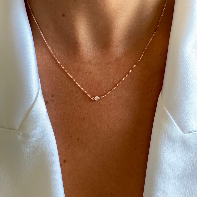 Single Diamond Rose Gold Necklace Serafin Jewellery Wolf Badger