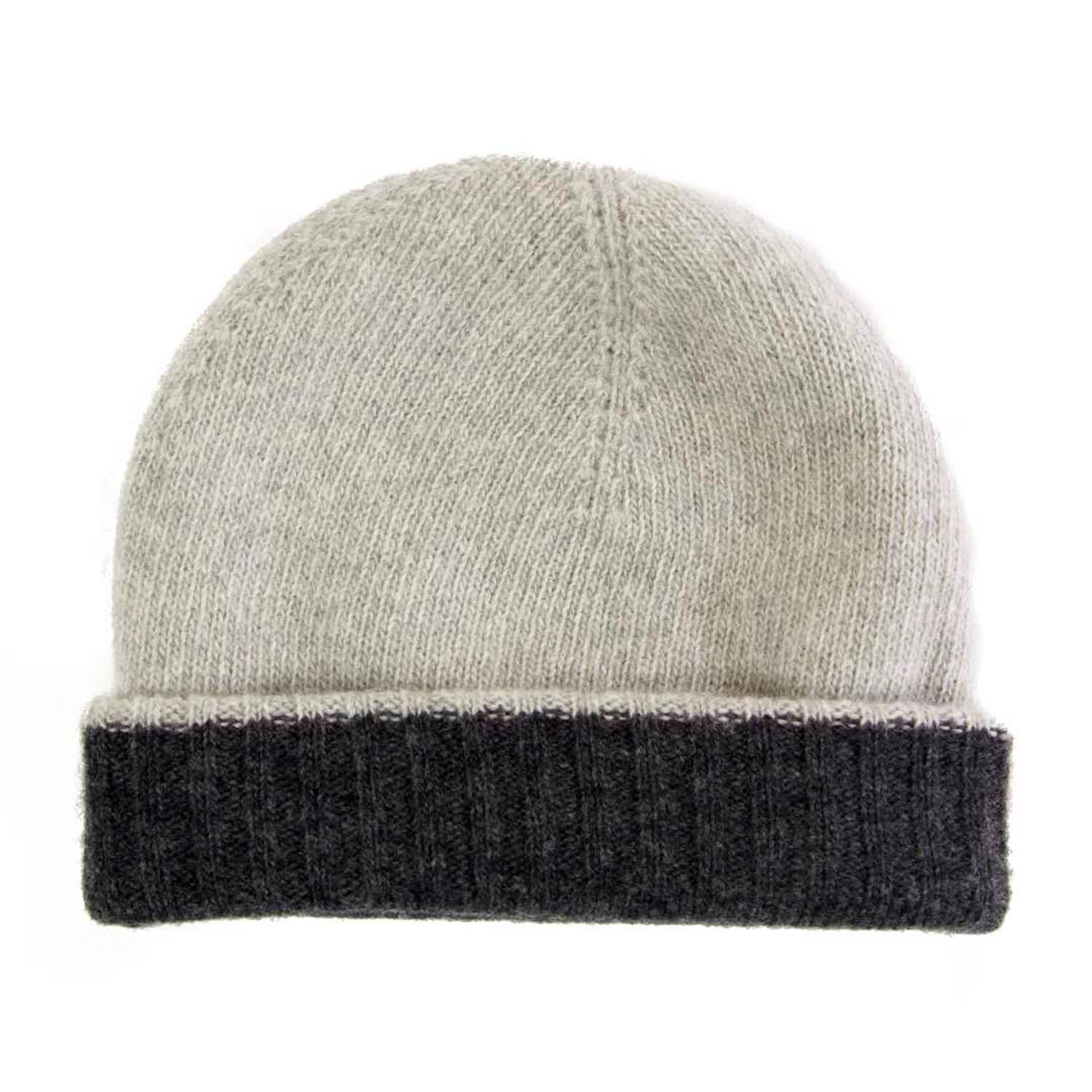 f2221e2058f Charcoal-Light Grey Reversible Wool   Cashmere Beanie image