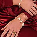 Venus Pink Pearl Dangle Gold Chain Bracelet image