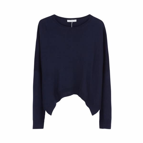 ILLE DE COCOS Merino Cropped Sweater Navy & Light Grey