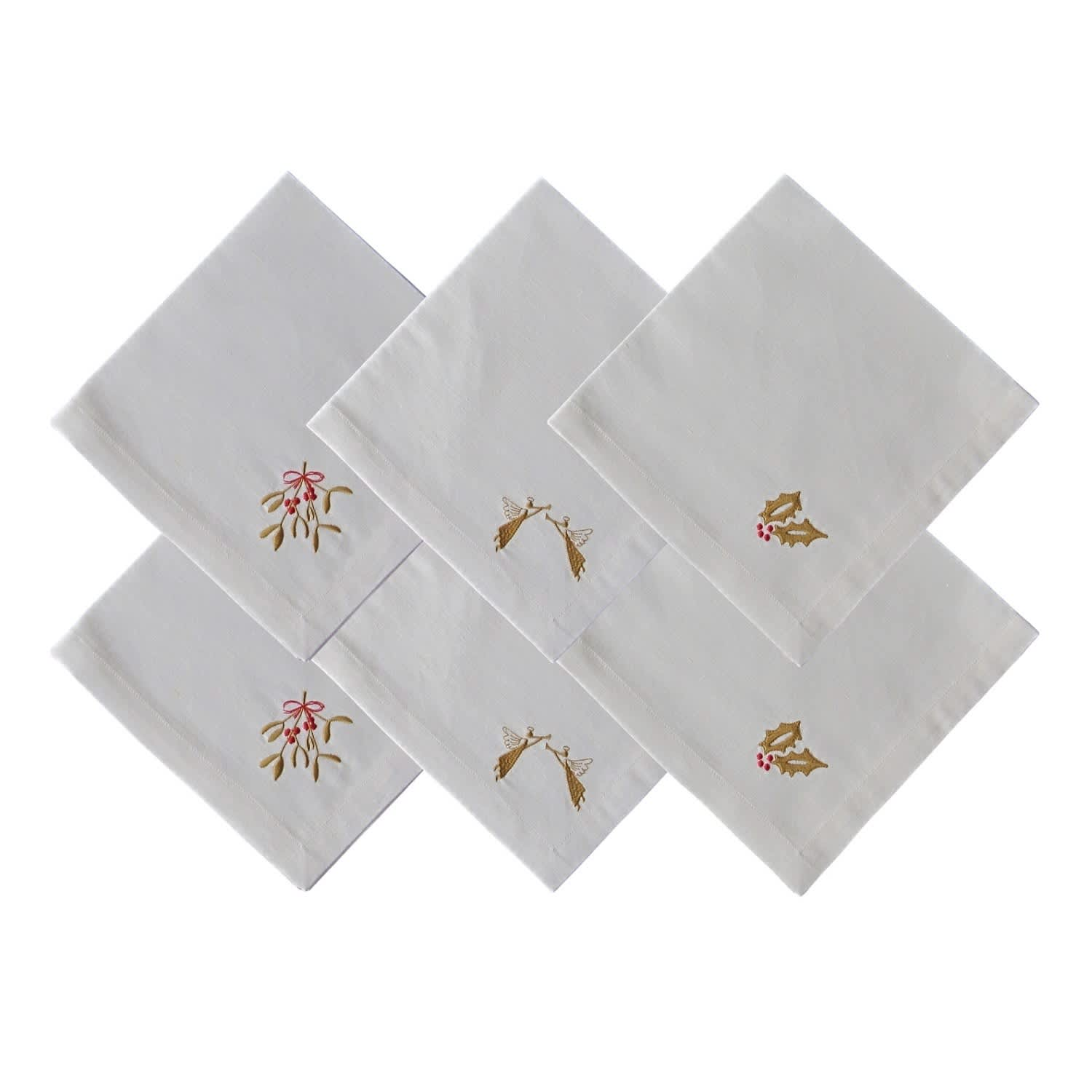 Set Of 6 Embroidered Linen Napkins Rumour London Wolf Badger
