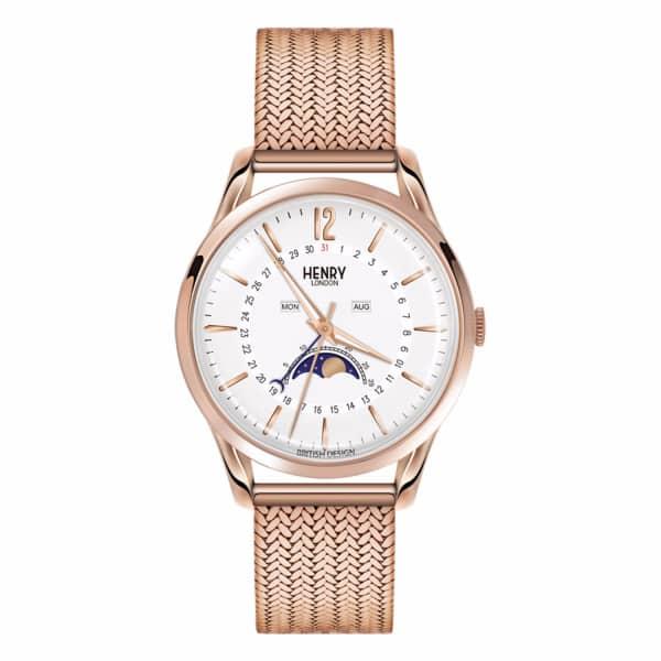 HENRY LONDON Unisex 39Mm Richmond Moonphase Stainless Steel Bracelet Watch