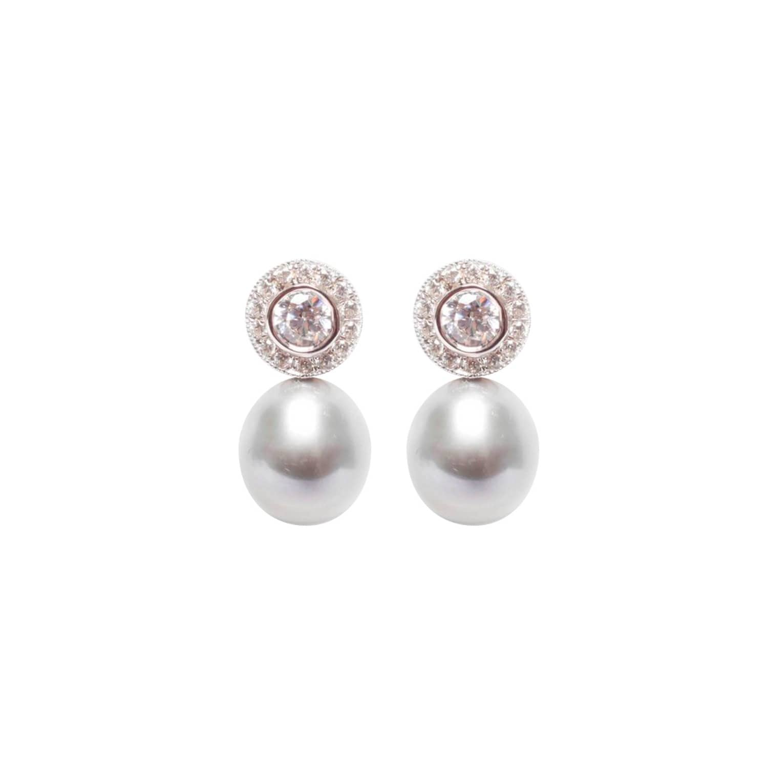 ORA Pearls Sterling Silver Halo Black Pearl Earrings Uqf54Ohj