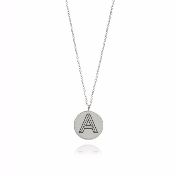 Silver Facett Initial Necklace A-Z
