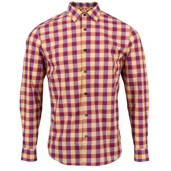 LORDS OF HARLECH Nigel Shirt In Gold Gingham